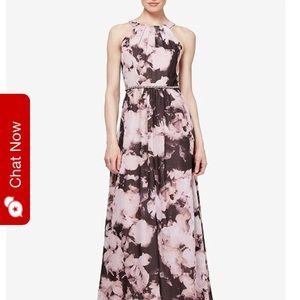 SLNY gown. Pink and Gray chiffon.